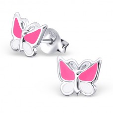 E01308-PK Sterling Silver Butterfly Ear rings with epoxy