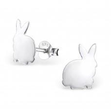 E01352-SS   Sterling Silver Flat Bunny Ear rings