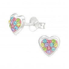 E01421-MX   Sterling Silver open Heart Ear Rings with crystals