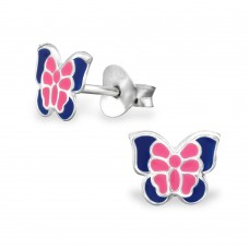 E01436-PK Sterling Silver Butterfly Ear rings with epoxy