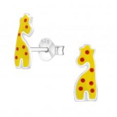 E01451-YE   Sterling Silver Polka dot giraffe Ear Rings