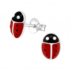 E00157-RD   Sterling Silver Love Bug Ear Rings with epoxy