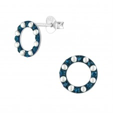 A01577-MX   Sterling silver open crystal donut ear ring (navy & pearl)