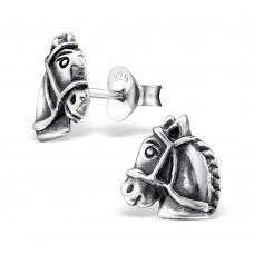 E01724-OX  Sterling Silver horse head Ear rings
