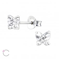 E01843-CR   Sterling Silver Butterfly Ear rings with clear CZ