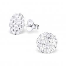 A02026-SS  Sterling silver hammered DISK ear ring