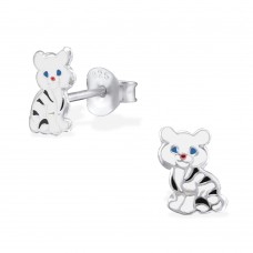E02034-WH   Sterling Silver White Tiger Ear Ring
