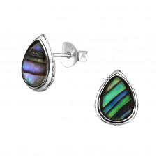 A02160-GR  Sterling silver tear stud ear ring