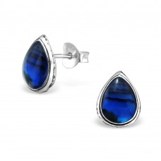 A02160-BL  Sterling silver tear stud ear ring