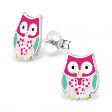 E02196-MX    Sterling Silver colour owl Ear rings