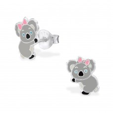 E02310-PK    Sterling Silver Koala bear Ear rings with Pink bow