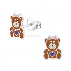 E02313-BR   Sterling Silver bear Ear rings with epoxy