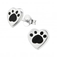 E02322-BK   Sterling Silver paw heart Ear rings with epoxy