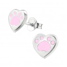 E02322-PK   Sterling Silver paw heart Ear rings with epoxy
