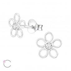 E02354-CR Sterling Silver Crystal Open Flower stud Ear rings