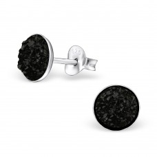 A02546-BK  Sterling silver black druzy stone ear ring