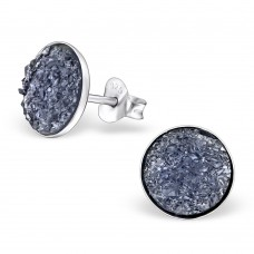 A02547-BL  Sterling silver blue druzy stone ear ring