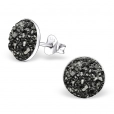 A02547-GR  Sterling silver grey druzy stone ear ring