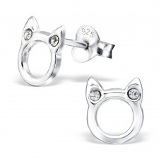 E02559-CR  Sterling Silver cat Ear Rings with crystals