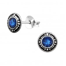 "A02607-BL  Sterling silver ""blue glitter"" round ear rings"