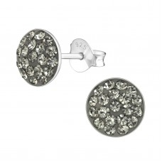 A02685-GR  Sterling silver grey crystal round ear rings