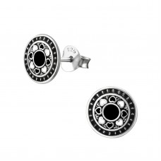 A02758-BK Sterling silver black & white epoxy ear ring disk
