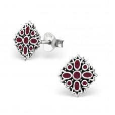 A02760-RD Sterling silver black & red epoxy ear ring