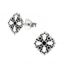 A02760-WH Sterling silver black & white epoxy ear ring