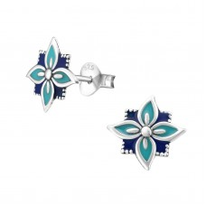 A02761-NV Sterling silver navy epoxy ear ring disk