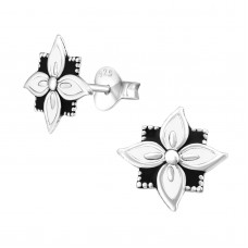 A02761-Wh Sterling silver White epoxy ear ring disk
