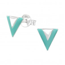 A02816-TQ    Sterling silver triangle ear ring