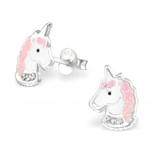 E03006-PK   Sterling Silver unicorn head Ear rings with epoxy & crystals