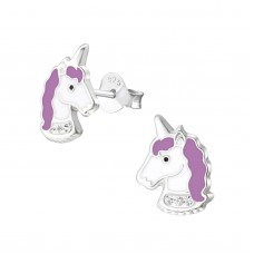 E03006-PU   Sterling Silver unicorn head Ear rings with epoxy & crystals