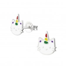 E03062-MX   Sterling Silver unicorn Cat Ear rings with epoxy