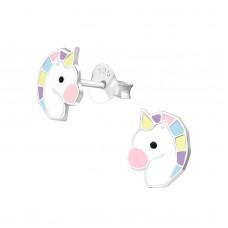 E03177-PK   Sterling Silver unicorn head Ear rings