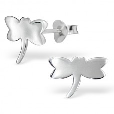 E00330-SS   Sterling Silver Flat Dragonfly ear  rings