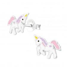 E03329-PK   Sterling Silver unicorn Ear rings with epoxy