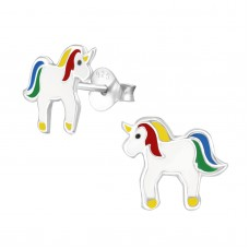 E03347-MX   Sterling Silver unicorn Ear rings with epoxy