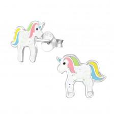 E02750-YE   Sterling Silver unicorn Ear rings with epoxy