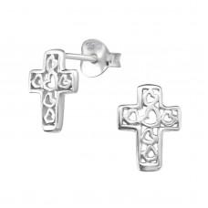 A01321-SS Sterling silver hearts in cross ear rings