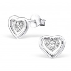 A06078-CR Sterling silver heart heart ear rings