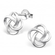 A06229-SS Sterling silver knot ear rings