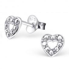 BB0015-SS   Sterling Silver open Heart studs with dots