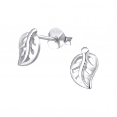 A06746-SS  Sterling silver small leaf ear ring