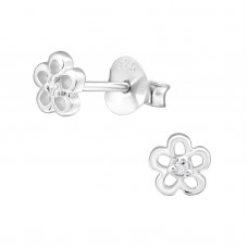 BB0017-SS  Sterling Silver Tiny Flower  Ear rings