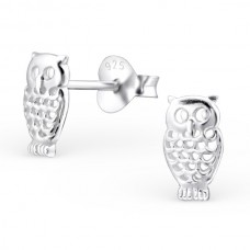 A07387-SS  Sterling silver owl ear ring