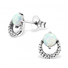 A07596-WH  Sterling silver circle & stone ear ring