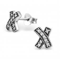 A09411-SS  Sterling silver cross ear ring with crystals