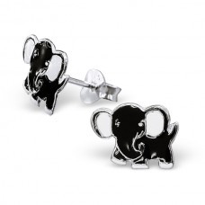 E00024-BK   Sterling Silver Black Elephant Ear rings with epoxy