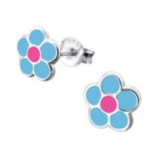 BB0012-BL Sterling Silver multi color Flower Ear rings with epoxy